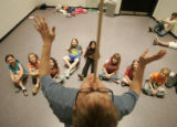 781 Brian Landis Folkins, teaches juggling and balance to a class at the Denver Center Theater...