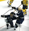 DM2362   Notre Dame's Dan Kissel celebrates with teammate Kevin Deeth, left, after Deeth's goal in...