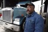 Bob Wilson (cq) ,44, fuels his rig at the Sapp Bros. truck stop in Commerce City Monday March...