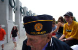 (Washington D.C. - SHOT 5/27/2004) World War II Navy veteran Luke McCleary, 84, of Montrose gets a...