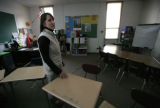 Principal Ann Marie Sanchez stands in the classroom of Lance Melting - a class that will never see...