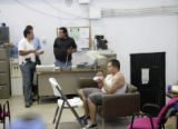 25 year-old Huber Silvo Cano (cq) is presented to members of the Mexican press after he was...