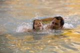 DM0078   Vienna Danna, 3, swims at the Recreation Center at Eastridge with her dad, Paul, in...