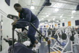 0039 Denver Broncos defensive end Jarvis Moss spends part of his first official day working out...