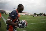 #38 Anthony Alridge (cq) jokes around in between plays with the special teams at Denver Broncos...
