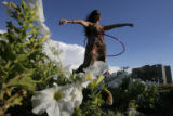 DM0124  Melody Moezzi, an Iranian American, Hula-Hooped for more than five hours to bring...