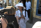 Actor Angela Bassett talks to the media at a brunch promoting his new movie Gospel Hill at Mescal...