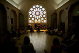 People participate in laughing yoga Monday, August 11, 2008, at 1400 Lafayette st., in the First...