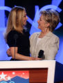 Sen. Hillary Clinton, left, D-NY, hugs her daughter, Chelsaa during a sound check at the Pepsi...