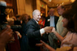 (seqn) Colorado Secretary of State Mike Coffman works the crowd before  addressing his supporters...