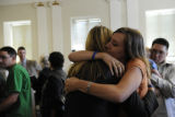 Stefanie Evilsizer, the aunt of Chandler Grafner, hugs one of the prosecutors after the verdict...