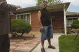Jose Sanchez, father, discusses reporter questions in front of his home, 565 S. Canosa Ct.,...