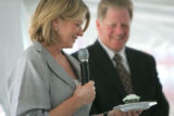 Martha Stewart judges a cupcake as she celebrates the one year anniversary of KB Home Stapleton:...