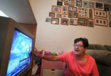 (149) Hurricane Katrina survivor Fran Roppolo, 62, sits in her Arvada apartment during an...