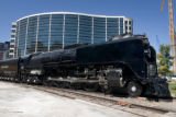 Train fans stop to look at Union Pacific Railroad's last steam locomotive, No. 844, at Union...