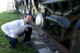 Train fan, Grant Adams (cq) checks out Union Pacific Railroad's last steam locomotive, No. 844, at...