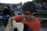 Shannon Charles (cq) of Denver rocks out before the start of an attempt at the world's largest...