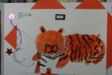 A tiger drawn by Erica Forney who was knocked off her bicycle on her way home from school and...