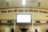 (0371) Minister Jason Janz speaks during his sermon at Providence Bible Church in Denver., Colo.,...