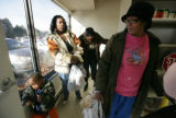 Mae Howard (r) waits for her food with friends Torrie Martin 2, Teyonda Bates and Takeesha Howard...