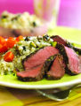 Grilled Flat Iron Steaks with Pistachio Mushroom Rice.  Photo courtesy of the Beef Checkoff.  Food...
