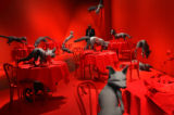 "(PG4209) A security guard walks through an installation called ""Fox Games"" by Sandy..."