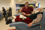Bonfils Blood Center employee, 24 year-old Heather Teel (cq) checks the blood pressure of 74...