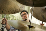 Musician Colin Stranahan (cq), 18, a jazz drummer, in his home in Parker on May 25, 2005.   He is...