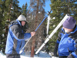 Measuring snow pack at Berthoud Pass. Pictured are Mike Gillespie, Snow Survey Superviser for...