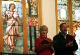 (0467) Two congregants sing at Sunday service at Trinity United Methodist Church in Denver.,...