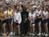 A man in a gorilla suit lines up with the rest of the runners at the start of the citizen's race...