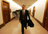 (0081) Newly-appointed Colorado Senator Michael Bennet walks through the halls at the Dirksen...