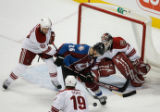 DM0367  Colorado Avalanche center Paul Stastny #26 battles in front of the Phoenix goal in the...