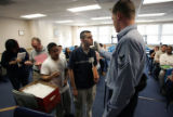 (NYT36) NEW YORK -- May 2, 2005 -- MILITARY-RECRUIT -- Recruits take a Breathalyzer test at a...