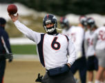 (0070) Jay Cutler throws practice at Broncos Headquarters in Dove Valley in Englewood., Colo., on...