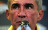 (0103) Mike Shanahan talks to the press at Broncos Headquarters in Dove Valley in Englewood.,...
