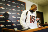 (0141) Brandon Marshall laughs as he talks to the press at Broncos Headquarters in Dove Valley in...
