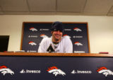 (0035) Jay Cutler talks to the press at Broncos Headquarters in Dove Valley in Englewood., Colo.,...