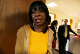 Sharon Harris (cq), sister of Queena Sanders (cq) stands outside the courtroom after Billy Reid...