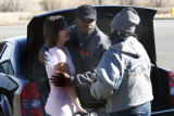 Bronco, Cory Boyd RB stops and gives a hug to fans Christian Reustle Colorado Springs and Pola Nye...