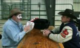 Face off with a face of a clown - John Ennslin gets approval from expert Lance Brittan at the...