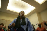 Opalanga (cq) chants at the end of a celebration of Kwanzaa at the Denver Public Library, 2401...