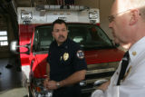 Bob Herdt, Battalion Chief (cq) (left) friend of Brian Kopp (cq) for the past eight years and Fire...