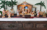 A Fontanini Nativity Scene collection in the home of Diane Muno, the owner of the Spruce House, a...