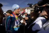 DM1633  BirdsOfPrey56022 Norway's Aksel Lund Svindal talks to reporters after taking third in the...