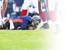 [JPM0677] Denver Broncos quarterback Jay Cutler (6) lays on the turf after being sacked in the...