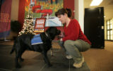 Linda Ruckle working at the reception desk gives her dog Alpine, who is a medical service dog,...