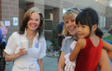 Superintendent of Jeffco Public Schools, Dr. Cindy Stevenson greets 4 year old future student,...