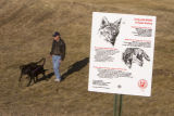 DM3496  A sign informing park goers about coyotes stands in the foreground as Brent Mancini walks...