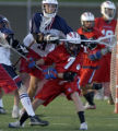 Kent Denver's Alex Langhorne (left #3) close lines Cherry Creek's Andrew McKinstry (right #7) in...